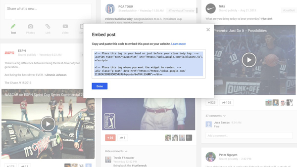Google+ Embeddable Posts